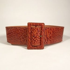 Vintage Sisley Pressed Leather Wide Belt